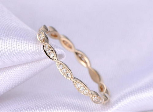 Diamond Wedding Band Art Deco full Eternity 14K Yellow Gold Vintage Style design  Anniversary Ring