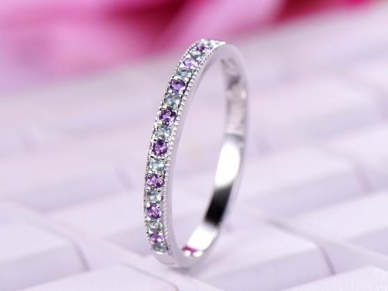 Milgrain Amethyst Alexandrite Wedding Band Half Eternity Anniversary Ring 14K White Gold