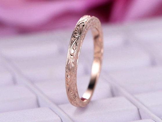 Filigree Plain 14k Rose gold Wedding band Vintage Style design Milgrain edge Anniversary Ring