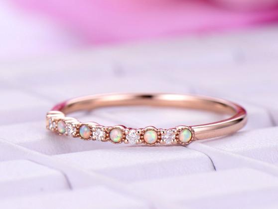 Opal/Diamond Wedding Band Half Eternity Anniversary Ring 14K Rose Gold