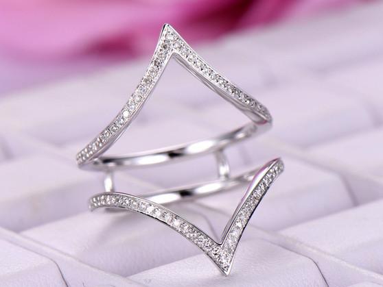 Diamond Chevron Ring Guard 14k White Gold symmetrical