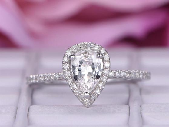 Pear White Topaz Engagement Ring Pave Diamond 14K White Gold 5x7mm