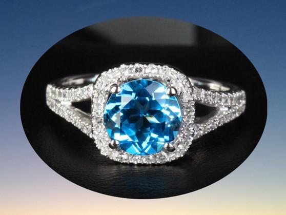 Round Blue Topaz Engagement Diamond Wedding Ring 14K White Gold 7.5mm