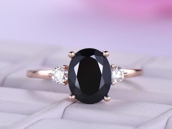 Oval Black Spinel Engagement Ring Moissanite Band 14k Rose Gold 7x9mm
