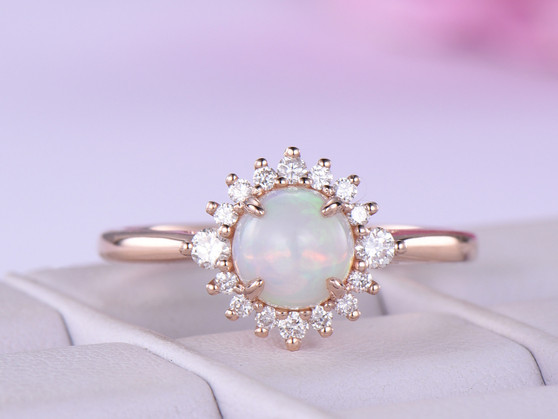 Round Opal Engagement Ring Full Cut Diamond Wedding 14K Rose Gold 6mm