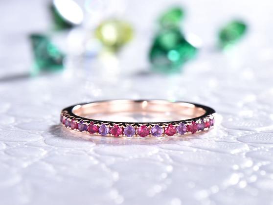 Amethyst Ruby Wedding Band Half Eternity Anniversary Ring 14K Rose Gold