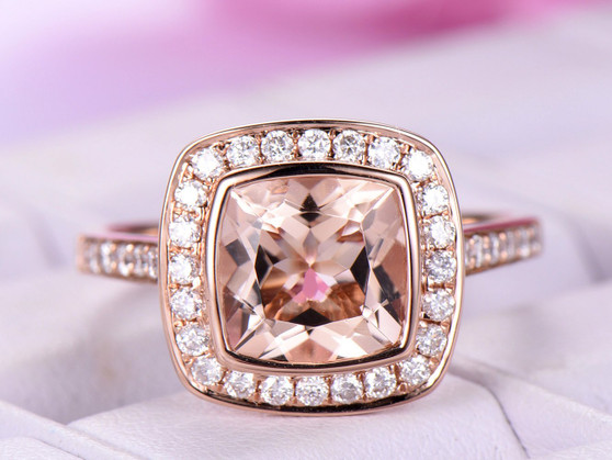 Bezel Cushion Morganite Ring FULL CUT Diamond Wedding Ring 14K Rose Gold 8mm