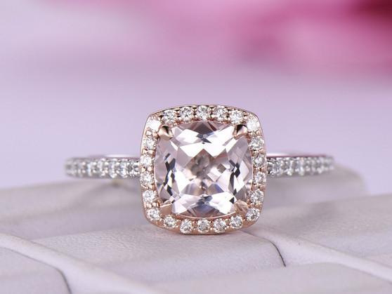Cushion Morganite Engagement Cathedral Ring VS Diamond 14K White/Rose Gold 7mm