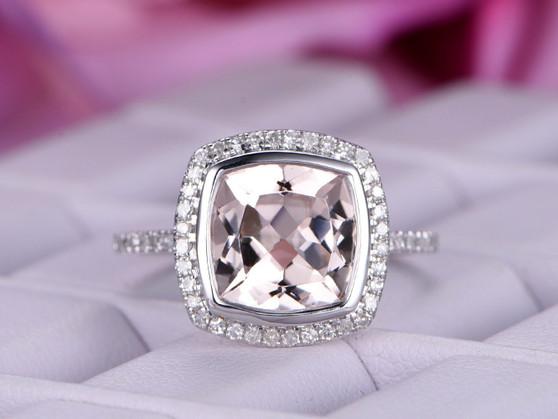 Bezel Cushion Morganite Engagement Ring Diamond Wedding 14K White Gold 9mm