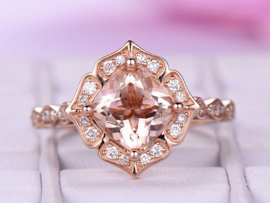 18k Rose Gold 7mm Cushion Morganite Engagement Ring Morganite Cathedral Ring Floral Halo Ring Vintage