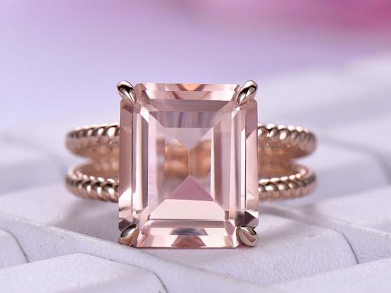 5.6ct Emerald Cut Morganite Engagement Ring Rope Band 14K Rose Gold 10x12mm