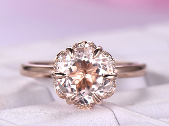 8mm Round Morganite Engagement Ring Diamond FLoral Halo 14K Rose Gold 6 Prongs