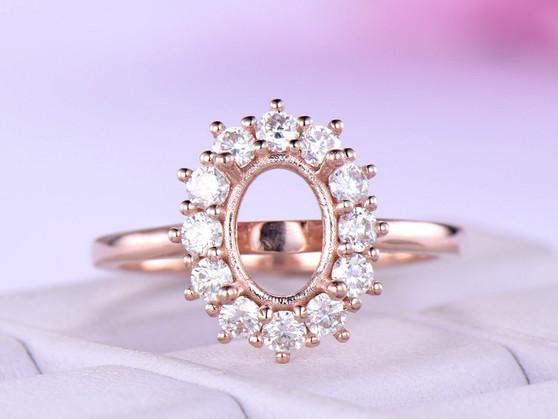 Semi Mount Ring 2mm Moissasnite Halo 14K Rose Gold Oval 6x8mm