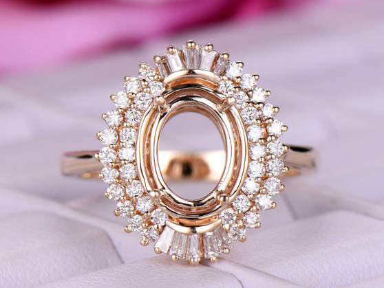 Oval 7x9mm Baguette and Round Diamond Double Halo Semi Mount Ring 14K Rose Gold Setting