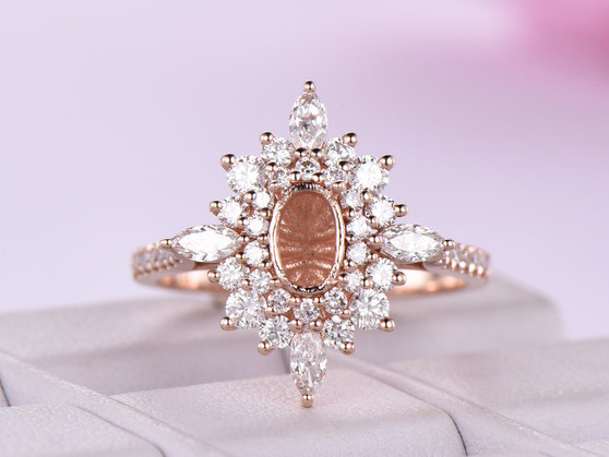 Marquise/Round Diamond Double Halo Semi Mount Ring 14K Rose Gold Marquise 4x8mm