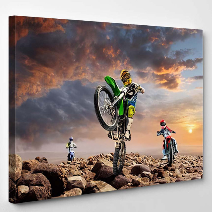 Professional Dirt Bike Riders On Top Of Vulcan - Sports And Recreation Canvas Art Print