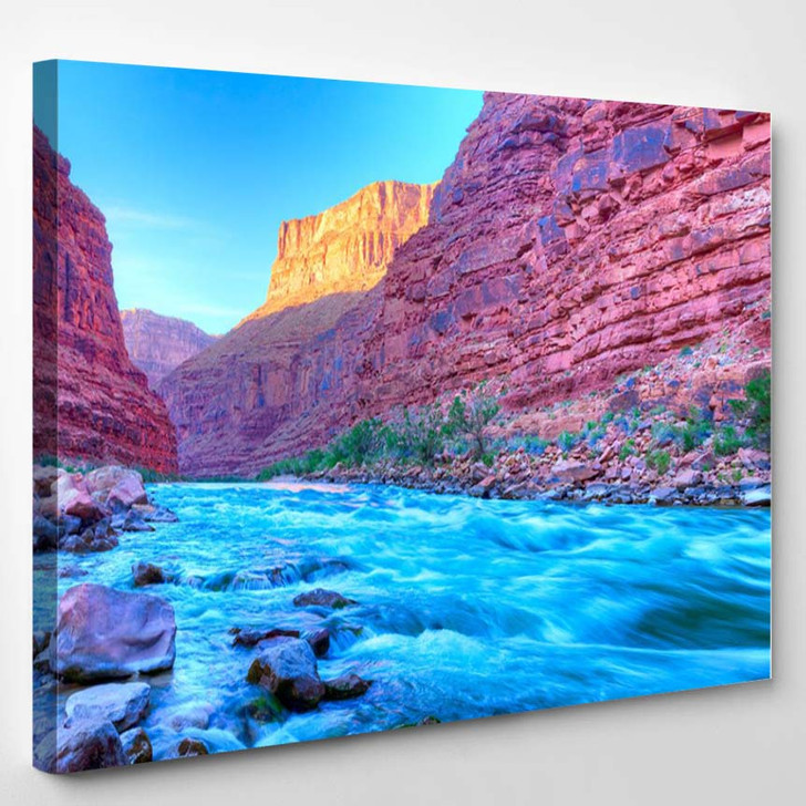Reflection In Colorado River Of Butte Catching Days Last Rays In Grand Canyon - Nature Canvas Art Print