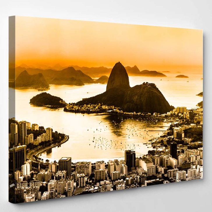 Rio De Janeiro Brazil Suggar Loaf And Botafogo Beach Viewed From Corcovado At Sunset - Landscape Canvas Art Print