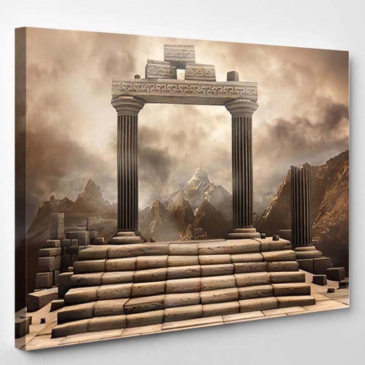 Fantasy Scenery Ruined Gate Stairs Mountains - Fantasy Canvas Art Print