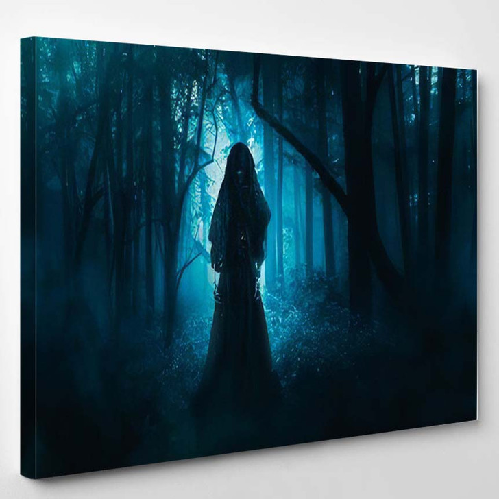 High Contrast Image Scary Ghost Woods - Fantasy Canvas Art Print