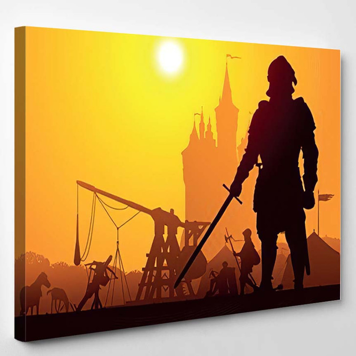 Medieval Knight Camp Castle On Background - Fantasy Canvas Art Print