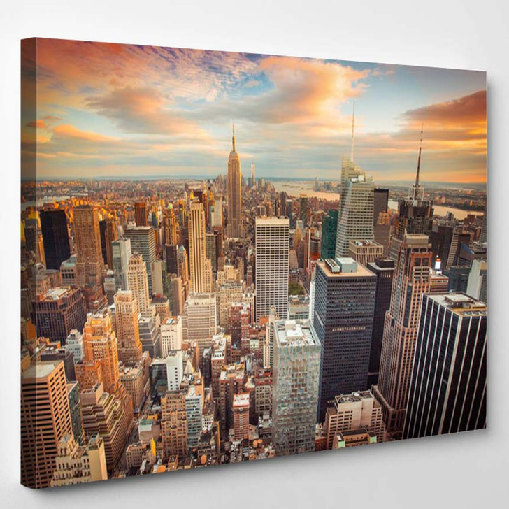 Sunset Aerial View Of New York City Looking Over Midtown Manhattan - Landscape Canvas Art Print