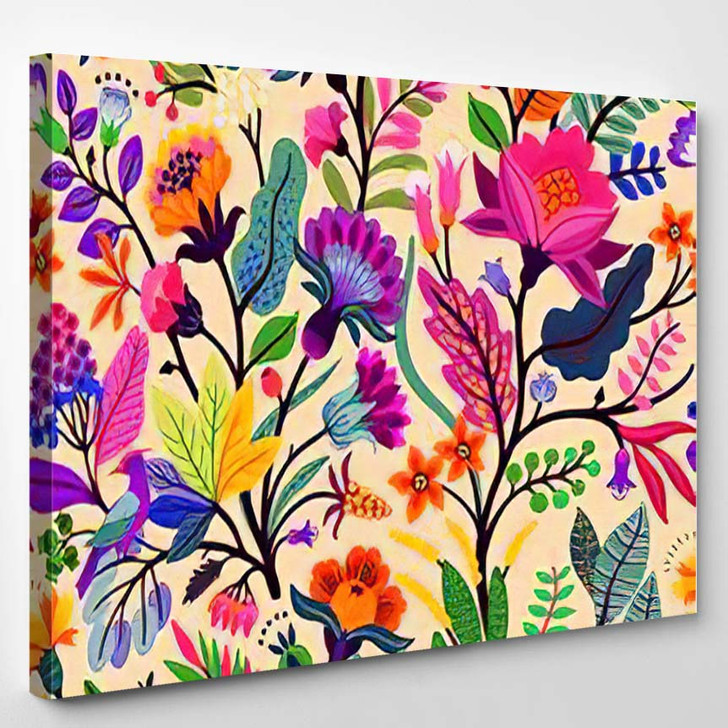 Seamless Floral Pattern Largescale Design Woody - Fantasy Canvas Art Print