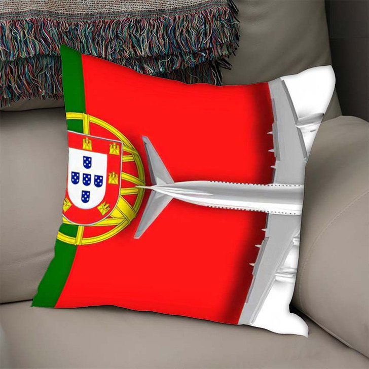 3D Flag Portugal Airplane Flying Over - Airplane Airport Throw Pillow