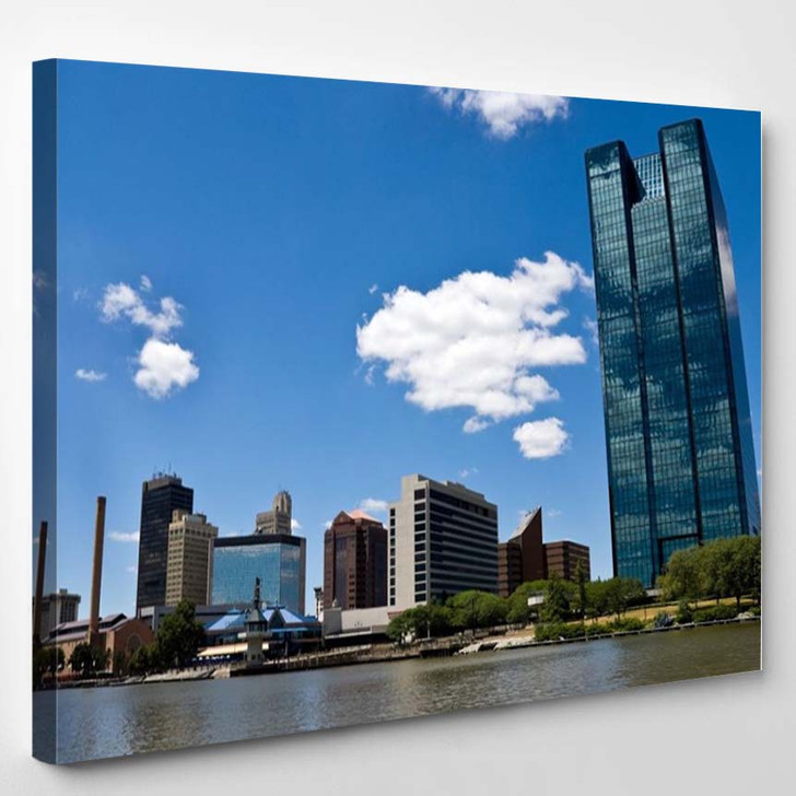 Toledo Oh Skyline From A Boat On The Maumee River - Landscape Canvas Art Print