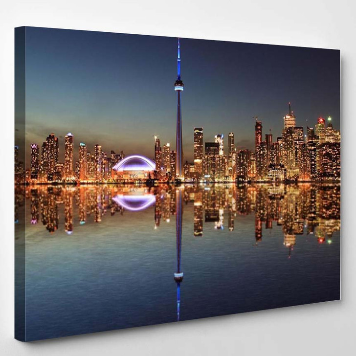 Toronto Skyline At Night With A Reflection In Lake Ontario - Landscape Canvas Art Print