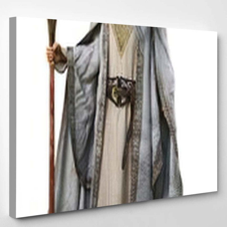 White Wizard Staff On Isolated Background - Fantasy Canvas Art Print