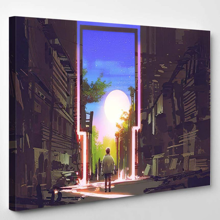 Young Boy Standing Abandoned City Looking - Fantasy Canvas Art Print