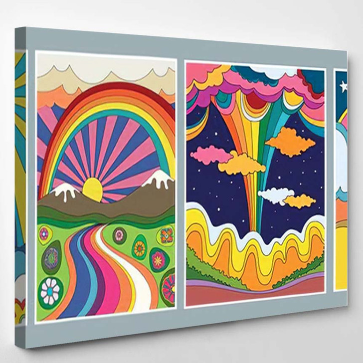 1960S 1970S Art Style Colorful Psychedelic - Psychedelic Canvas Art Print
