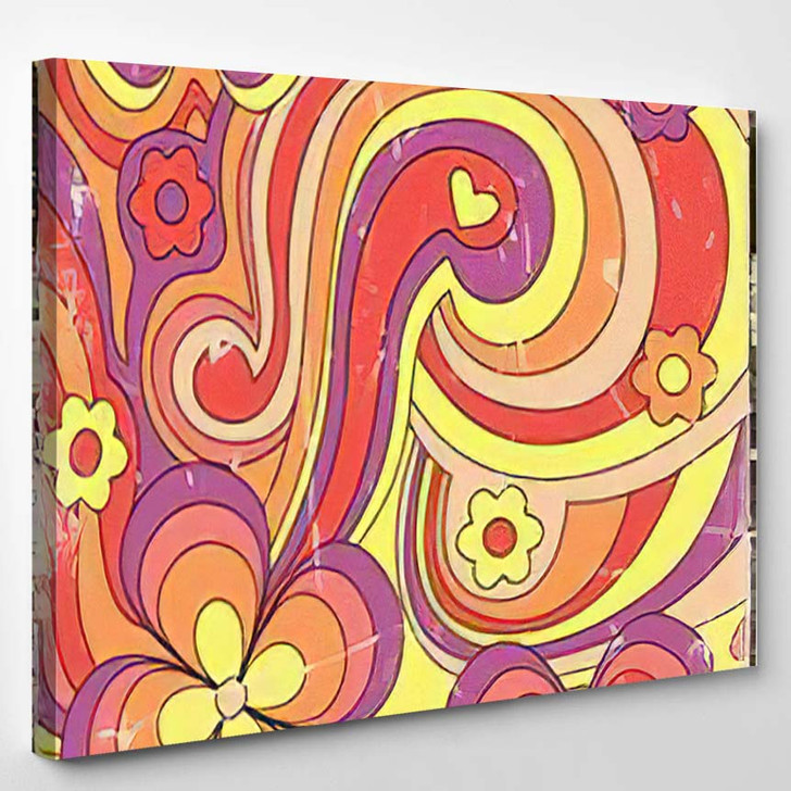 1960S 1970S Hippie Style Psychedelic Art - Psychedelic Canvas Art Print