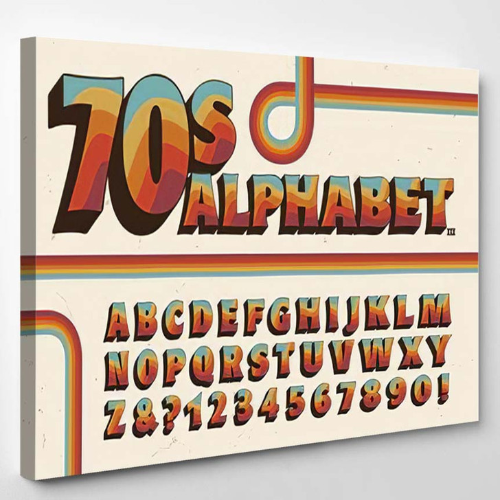 1970Sstyle Alphabet Rainbow Stripe Embellishments - Psychedelic Canvas Art Print