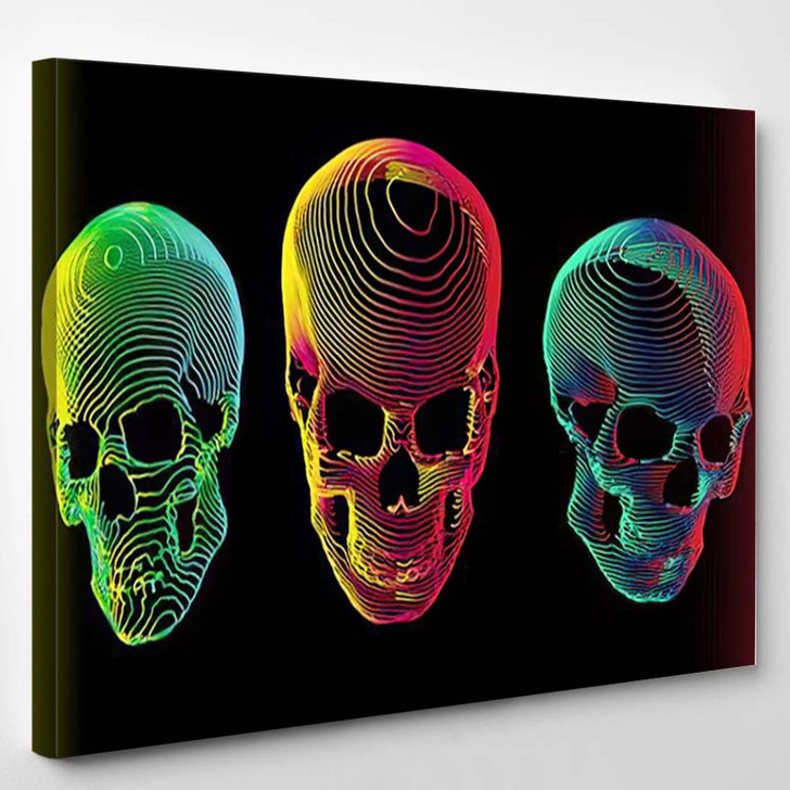 3 Psychedelic Gradient Colorful Line Skull 1 - Psychedelic Canvas Art Print