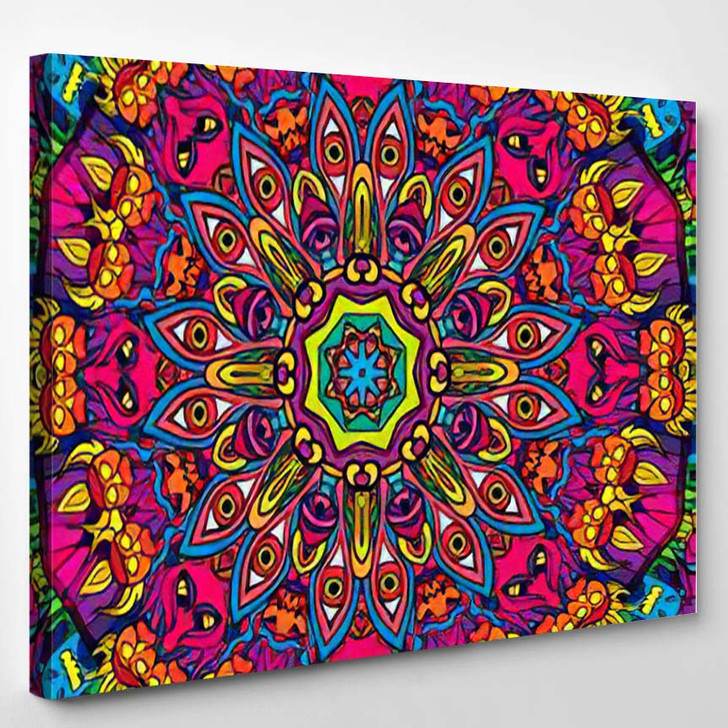 60S Hippie Psychedelic Art Seamless Pattern 1 - Psychedelic Canvas Art Print