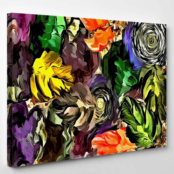 Abstract Background Psychedelic Texture Brush Strokes - Psychedelic Canvas Art Print