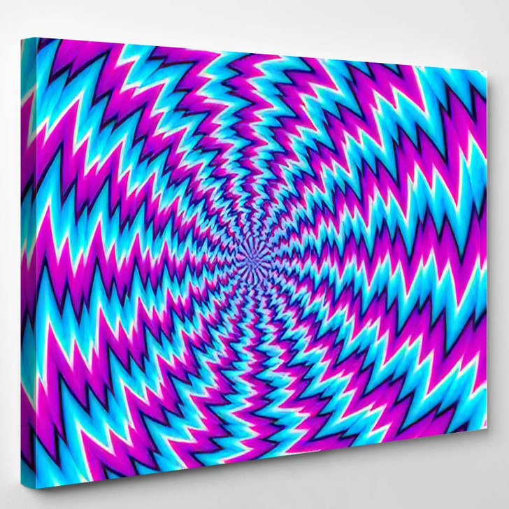 Abstract Blue Background Spin Illusion - Psychedelic Canvas Art Print