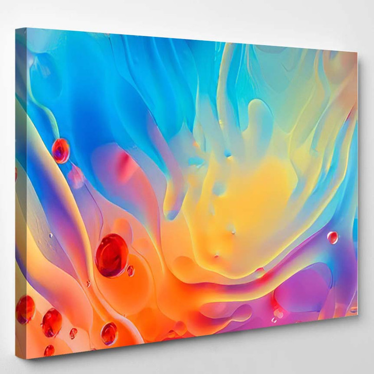 Abstract Colorful Backdrop Oil Drops Waves 2 - Psychedelic Canvas Art Print