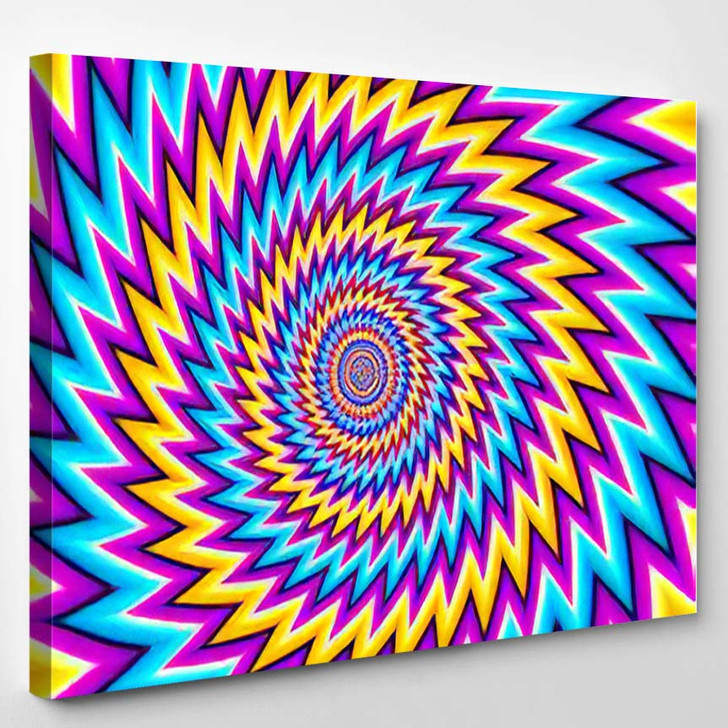 Abstract Colorful Background Optical Expansion Illusion - Psychedelic Canvas Art Print