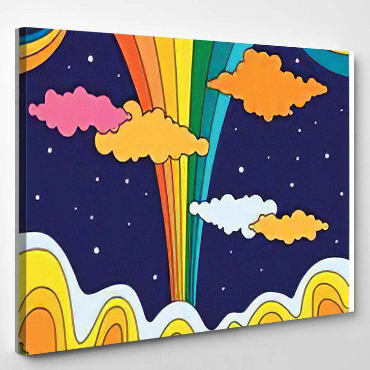 Abstract Colorful Landscape Vintage Psychedelic Art - Psychedelic Canvas Art Print