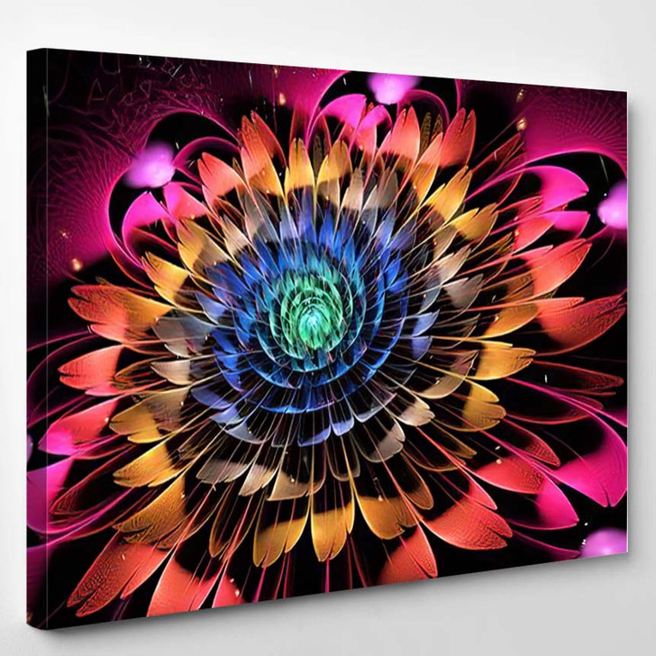 Abstract Exotic Flower Textured Petals On - Psychedelic Canvas Art Print
