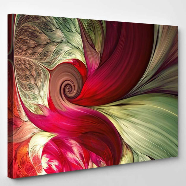 Abstract Fractal Patterns Shapes Dynamic Flowing - Psychedelic Canvas Art Print