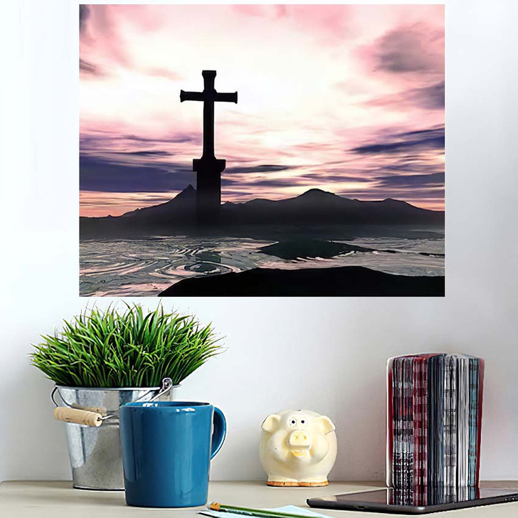 3D Illustration Rising Cross Over Hills - Jesus Christian Poster Art
