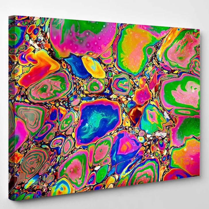 Abstract Image Multicolored Oil Gasoline Stains - Psychedelic Canvas Art Print