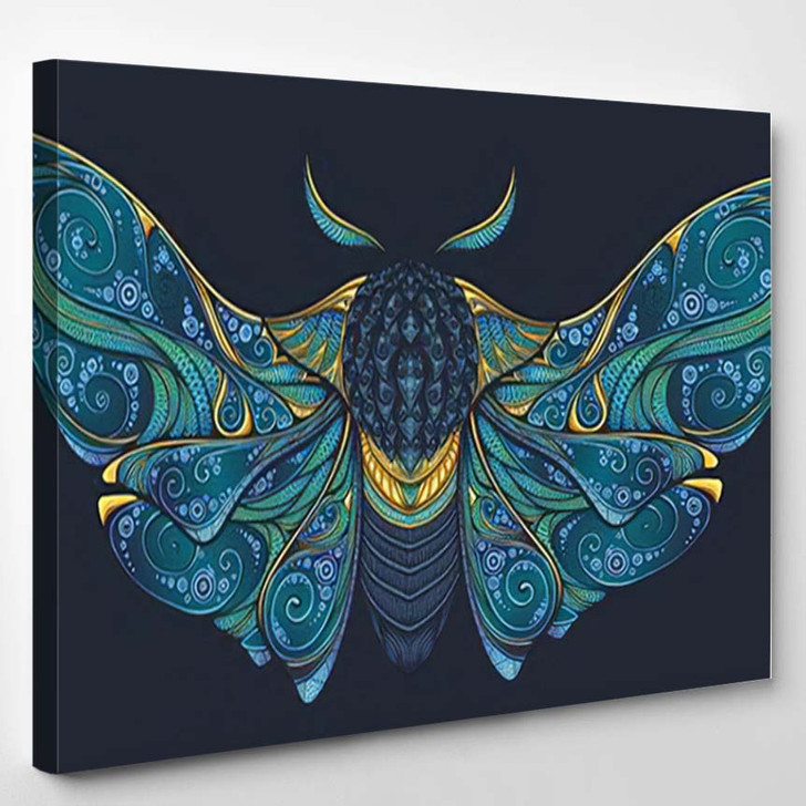 Abstract Mystical Moth Psychedelic Design Highdetailed - Psychedelic Canvas Art Print
