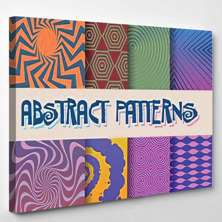 Abstract Patterns Set Gradients Geometrical Shapes - Psychedelic Canvas Art Print