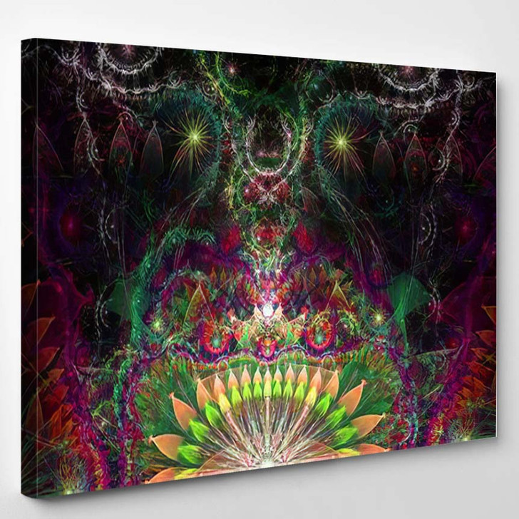 Abstract Psychedelic Colorful Background Decorative Alien - Psychedelic Canvas Art Print