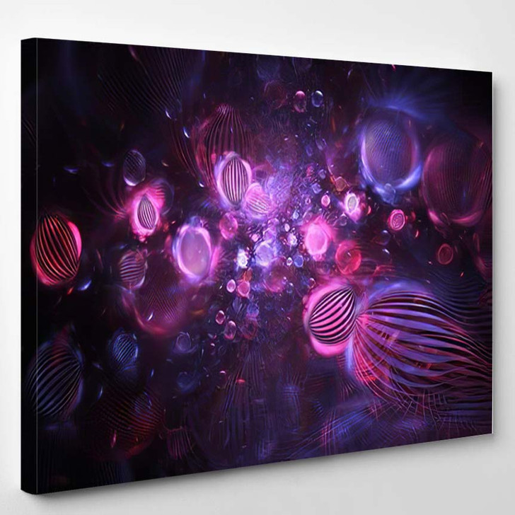 Abstract Purple Blue Textured Bubbles On - Psychedelic Canvas Art Print